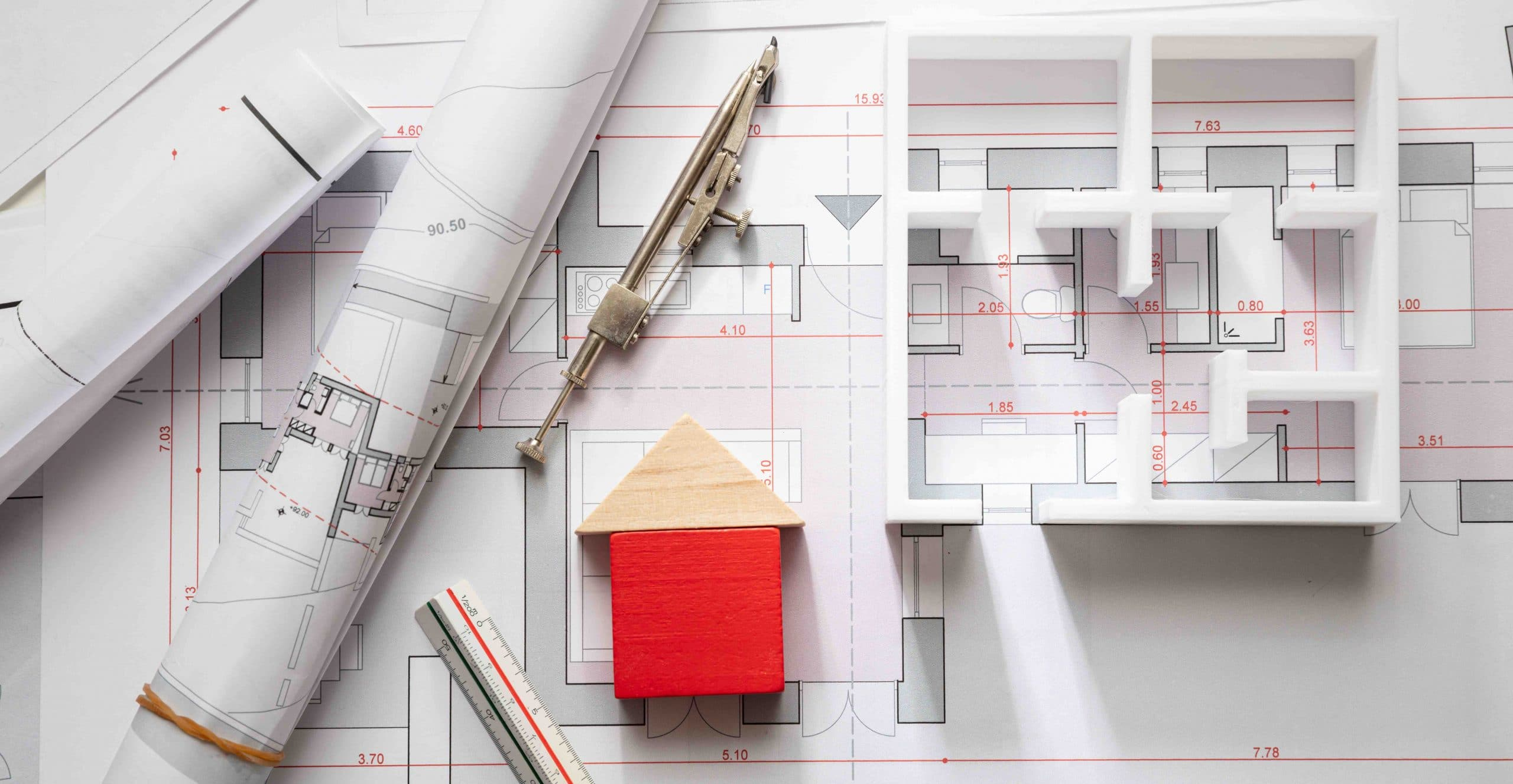 House model and blueprint plans, residential building project architectural design, banner